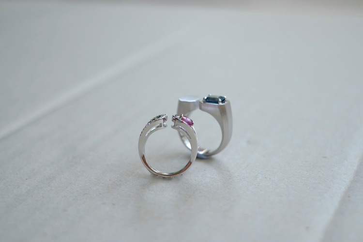 Pink Spinel Blue Spinel Wedding Band Set