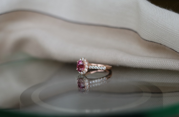 Pink Spinel Classic Engagement Ring