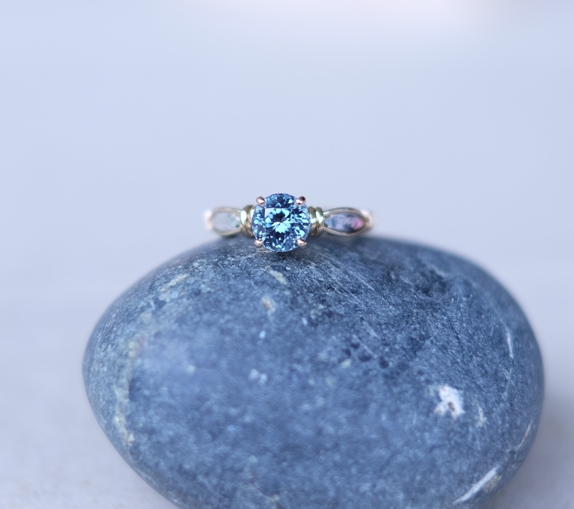 Steel Blue Spinel Wraparound Ring