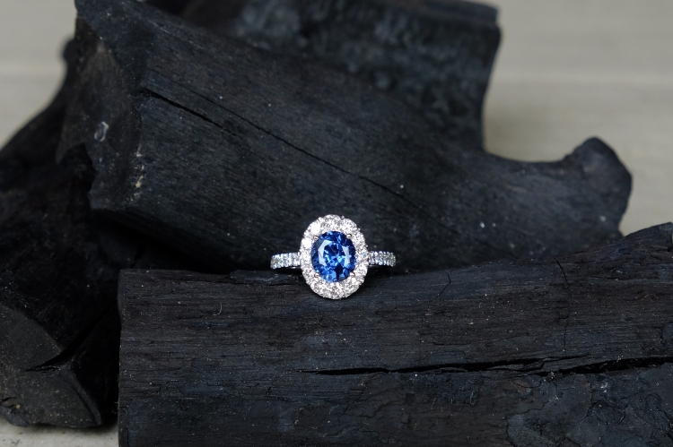 Blue Spinel Engagement Ring 18K White Gold